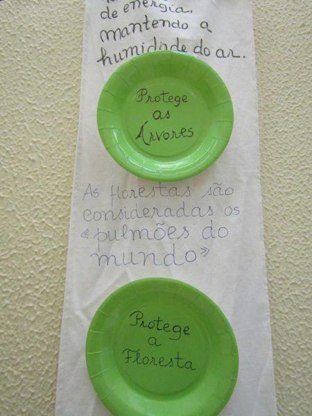 Alerta utilizando pratos de papel reutilizados.